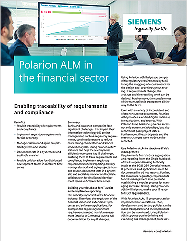 Polarion ALM in the financial sector